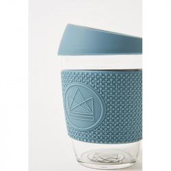 Skleněný hrnek na kávu, 350 ml, Kactus, modrý