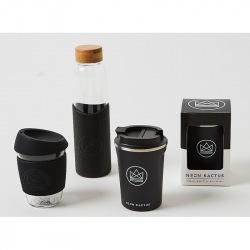 Skleněný hrnek na kávu, 350 ml, Kactus, černý