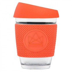 Skleněný hrnek na kávu, 350 ml, Kactus, korálový