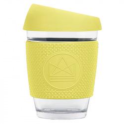 Skleněný hrnek na kávu, 350 ml, Kactus, žlutý