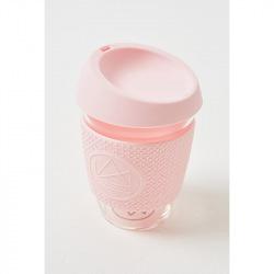 Skleněný hrnek na kávu, 350 ml, Kactus, růžový