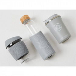 Skleněný hrnek na kávu, 350 ml, Kactus, šedý