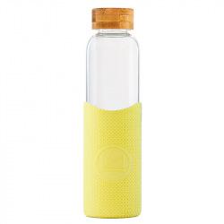 Skleněná láhev s rukávem, 550 ml, Kactus, žlutá