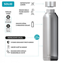Nerezová láhev Solid Powder, 630 ml, Quokka, šedá