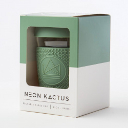 Skleněný hrnek na kávu, 340 ml, Neon Kactus, zelený