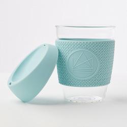 Skleněný hrnek na kávu, 340 ml, Neon Kactus, sv. modrý