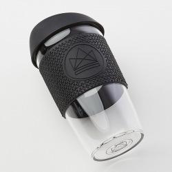 Skleněný hrnek na kávu, L, 450 ml, Neon Kactus, černý