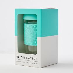 Skleněný hrnek na kávu, L, 450 ml, Neon Kactus, tyrkysový
