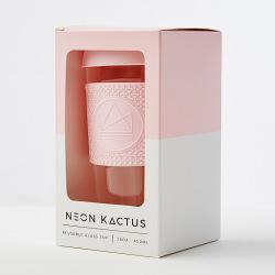Skleněný hrnek na kávu, L, 450 ml, Neon Kactus, růžový