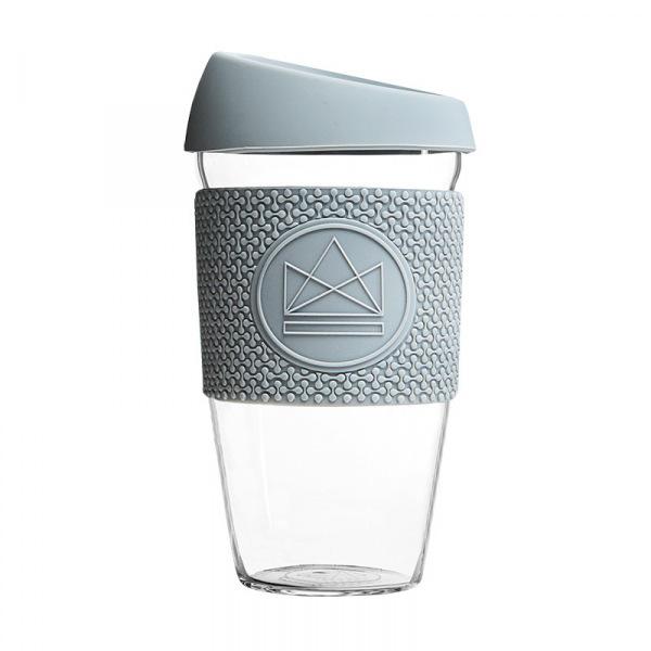 Skleněný hrnek na kávu, L, 450 ml, Neon Kactus, šedý