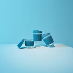 Skleněný hrnek na kávu, L, 450 ml, Neon Kactus, modrý