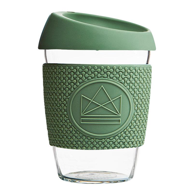 Levně Skleněný hrnek na kávu, M, 340 ml, Neon Kactus, zelený, GC1207